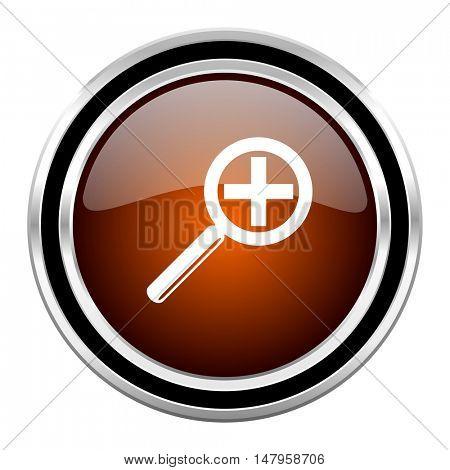 lens round circle glossy metallic chrome web icon isolated on white background