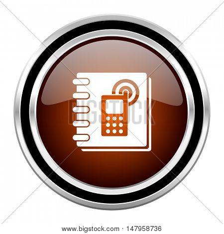 phonebook round circle glossy metallic chrome web icon isolated on white background