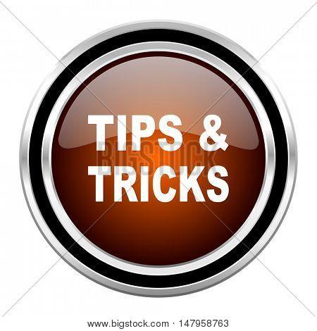 tips tricks round circle glossy metallic chrome web icon isolated on white background