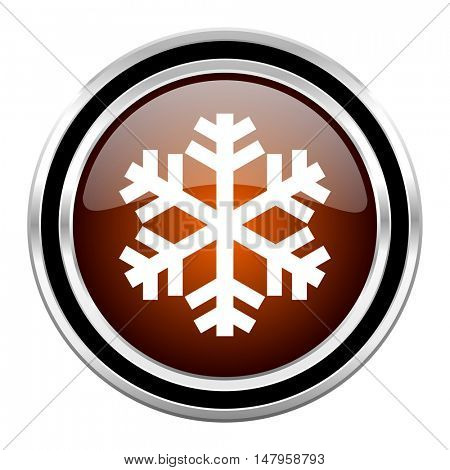 snow round circle glossy metallic chrome web icon isolated on white background
