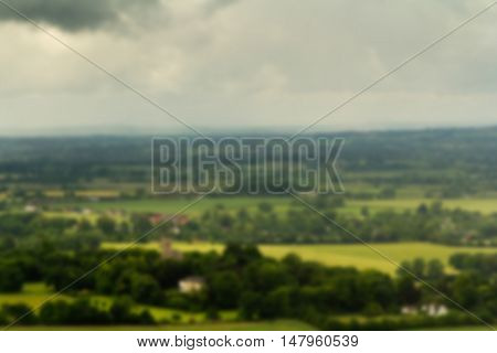 View Over A Church In The Chilterns, Buckinghamshire Out Of Focus.