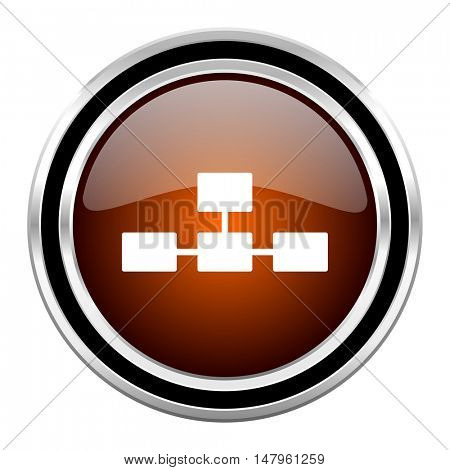 database round circle glossy metallic chrome web icon isolated on white background