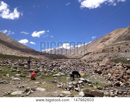 LEH LADAKH INDIA - JULY 9 2014 : Road from Khardungla pass to Nubra valley Leh Ladakh India