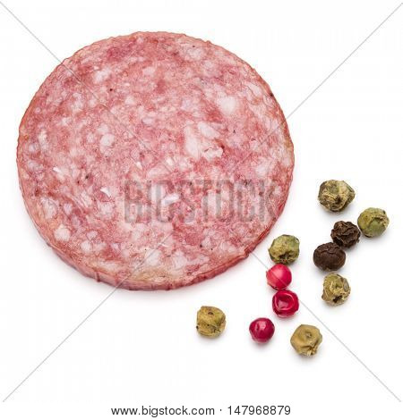 Salami smoked sausage one slice and peppercorns isolated on white background cutout
