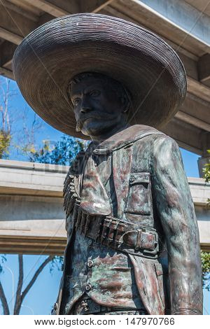 SAN DIEGO, CALIFORNIA - SEPTEMBER 10, 2016: Statue of General Emiliano Zapata in Chicano Park in the Barrio Logan neighborhood.  Zapata was a leading figure in the Mexican Revolution of 1910-1920.