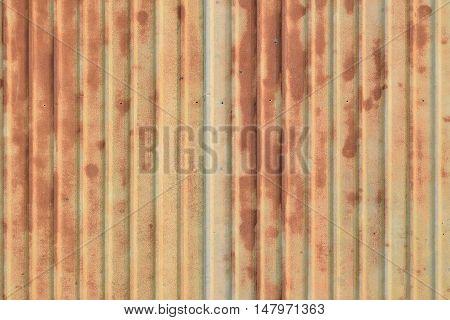 Old rusty ridge galvanized plate background exterior