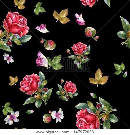 Watercolor painting illustration of Red rose seamless pattern on black background