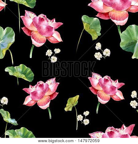 Watercolor illustration painting of leafs and lotus seamless pattern on dark background