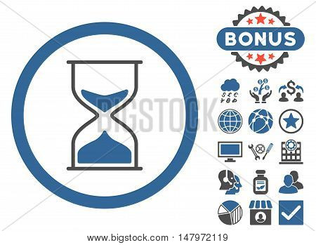 Hourglass icon with bonus symbols. Vector illustration style is flat iconic bicolor symbols, cobalt and gray colors, white background.