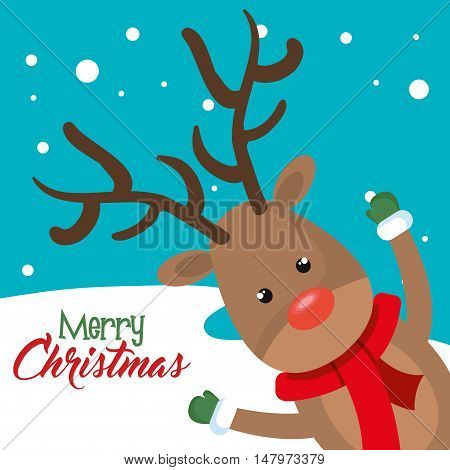 reindeer cheerful merry christmas vector illustration eps 10