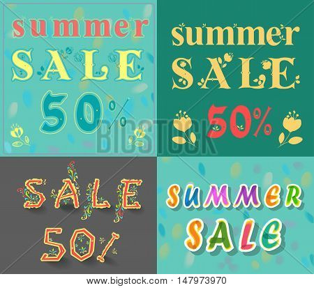 Card with texts for retail. Summer sale. Fifty percents. Floral artistic font. Watercolor unusual fount. Vector illustration