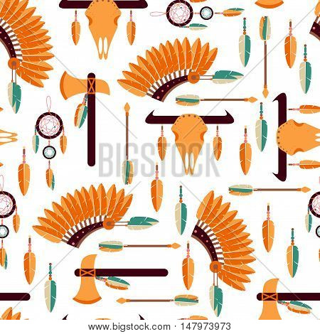 Native American Seamless Pattern / Seamless Background with American Indians Elements