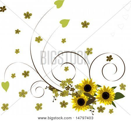 illustration with yellow flower bouquet on white background