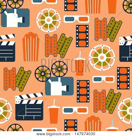 Seamless Pattern of Movie Elements and Cinema Icons / Cinema Vector Seamless Pattern