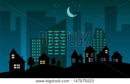 Night city skyline abstract background, vector illustration