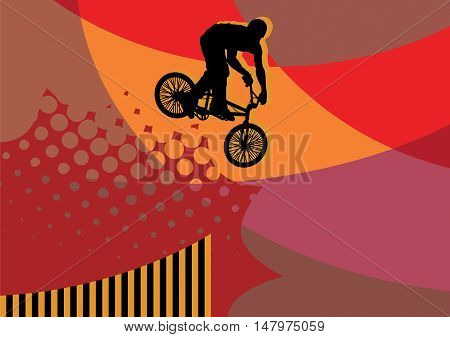 Cyclist jump abstract color background, vector illustration