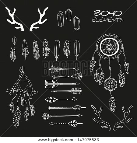 Set of Hand Drawn Boho Elements / Boho Style Decorative Symbols