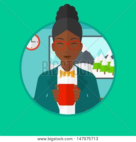 African-american woman drinking hot flavored coffee. Young smiling woman with cup of coffee. Woman enjoying fresh coffee at home. Vector flat design illustration in the circle isolated on background.