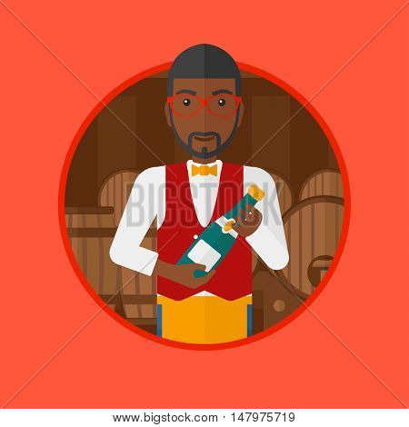An african-american waiter standing in wine cellar. Waiter with bottle in hands standing on the background of wine barrels. Vector flat design illustration in the circle isolated on background.