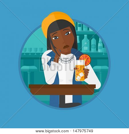 An african sad woman sitting at the bar with glass of orange cocktail. Woman sitting alone at the bar and drinking orange cocktail. Vector flat design illustration in the circle isolated on background