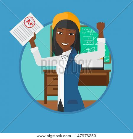 An african-american cheerful student with raised hands showing sheet with A grade in the classroom. Student received best mark. Vector flat design illustration in the circle isolated on background.
