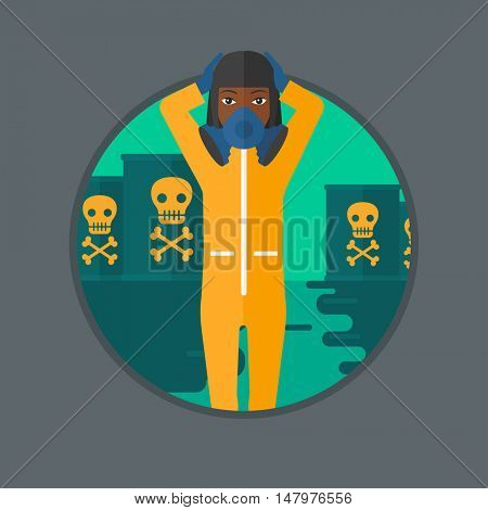 An african-american woman in mask and radiation protective suit standing in polluted water on a background of radioactive barrel. Vector flat design illustration in the circle isolated on background.