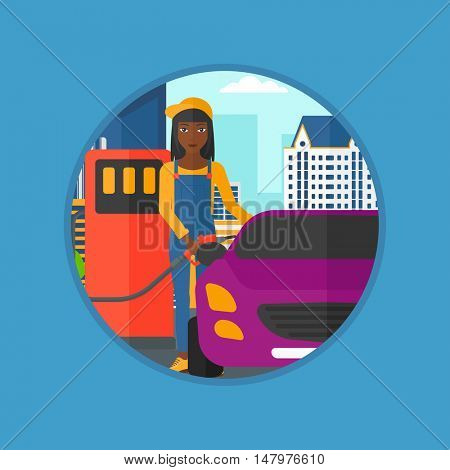 African-american female worker filling up fuel into the car. Woman in workwear at gas station. Gas station worker refueling a car. Vector flat design illustration in the circle isolated on background.