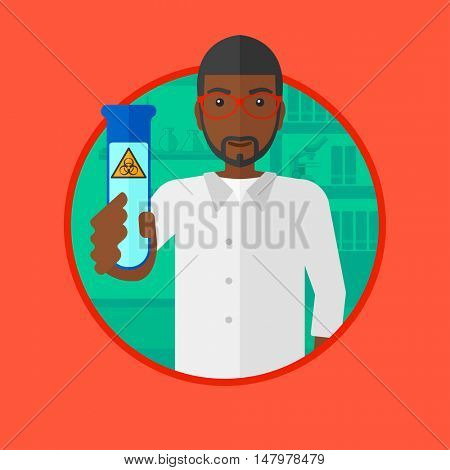 An african-american scientist holding a test tube with biohazard sign. Scientist examining a test tube in a chemical laboratory. Vector flat design illustration in the circle isolated on background.