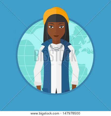 An african business woman standing on map background. Business woman taking part in global business. Global business concept. Vector flat design illustration in the circle isolated on background.