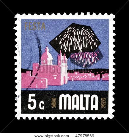 MALTA - CIRCA 1978 : Cancelled postage stamp printed by Malta, that shows Fiesta.