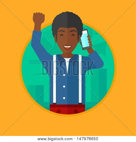 An african-american man getting good news on mobile phone on the background of growing chart. Stockbroker at stock exchange. Vector flat design illustration in the circle isolated on background.