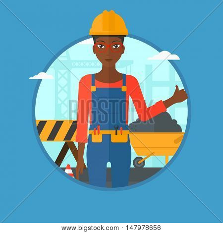 An african-american builder in helmet giving thumb up. Builder with thumb up on a construction site. Woman giving thumb up on a background of road works. Vector flat design illustration in the circle.