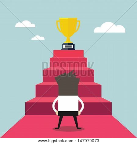 Businessman standing in front of stair that leads the trophy, Shortcut to success, vector