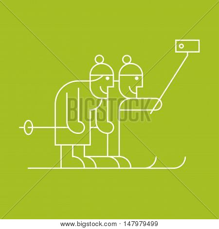 Old senior people skiing and making selfie with camer on stick vector thin line clip. Active happy and modern grandparents elderly people pensioners symbol icon emblem