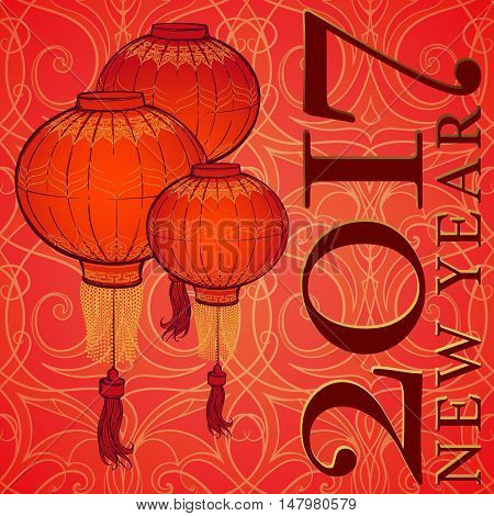 Chinese New Year greeting card. Chinese red lantern on a red and gold seamless pattern. Intricate linear hand drawing.