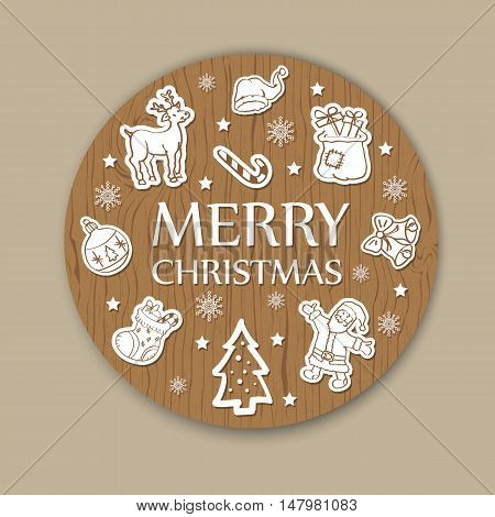 New year or Christmas greeting card on wooden background. Vector illustration