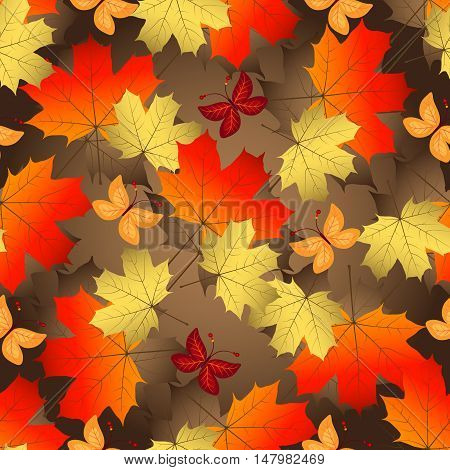 Brown gradient autumn seamless pattern with vivid colorful maple leaves and butterflies vector