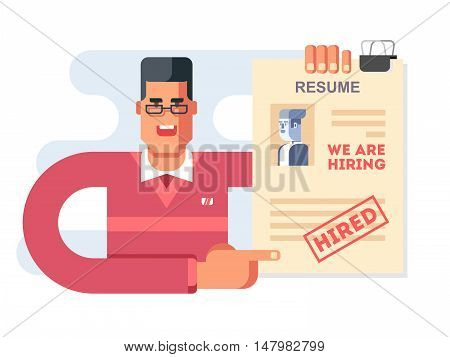We are hiring. Accepted resume, character concept design. Flat vector illistration. poster