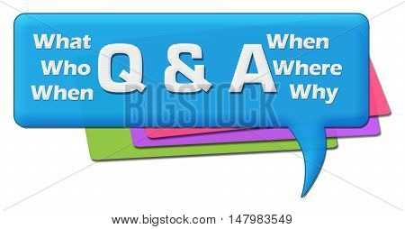 Q and A text with related wordcloud on blue colorful comment symbol.