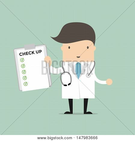 Medical Doctor Holding Check Up Report Document. Vector