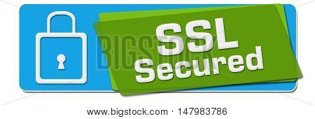 SSL Secured text with related symbol written over green blue background.