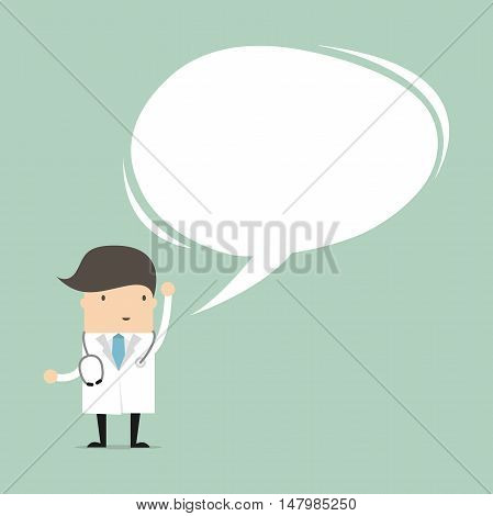 Doctor in medical uniform speaking with speech bubble. vector