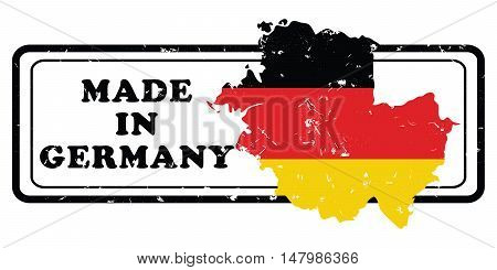 Made in Germany -  grunge printable stamp / label with national German flag and the map of Germany. Print colors used