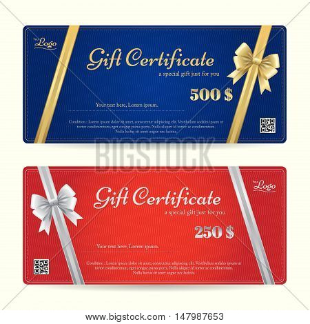 Elegance gift card or gift voucher template with shiny gold and silver bows and ribbons vector