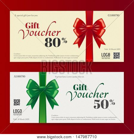 Elegant christmas gift card or gift voucher template with shiny red and green bows and ribbons vector