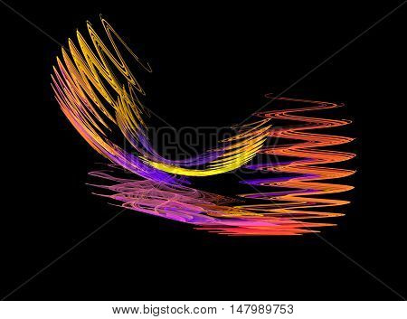 Abstract yellow and purple zigzag fractal on black background