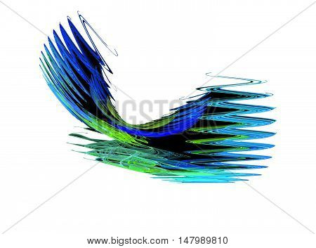 Abstract blue zigzag fractal on white background