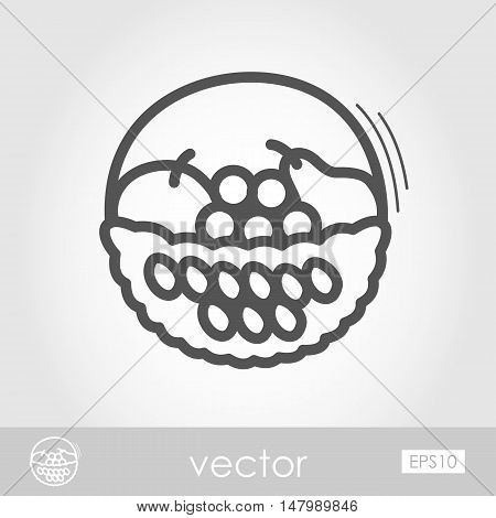 Fruit Basket outline icon. Harvest. Thanksgiving vector illustration eps 10