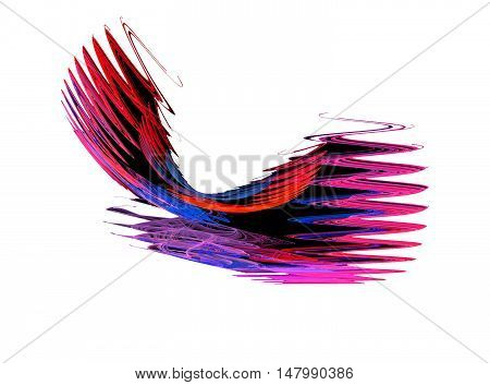 Abstract red zigzag fractal on white background