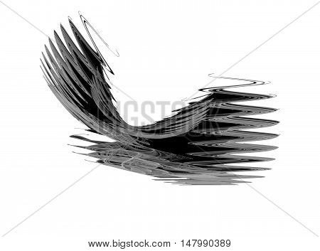 Abstract grey zigzag fractal on white background